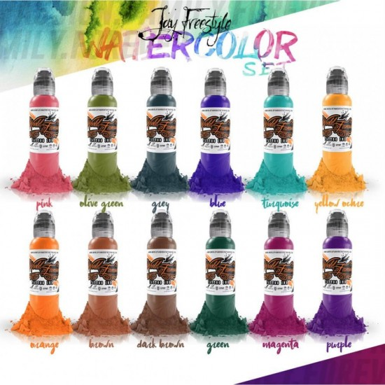 World Famous Tattoo İnk Jay Freestyle Watercolor İnk Set 30 ML