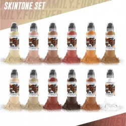 World Famous Tattoo İnk Skin Tone Color Set 12 x 30ml
