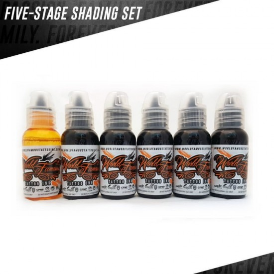 World Famous Tattoo İnk 5 Five Stage Shading Set 30ML